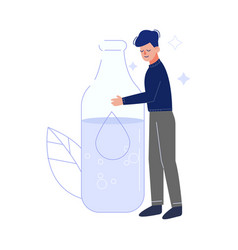 Young man drinking fresh clean water from big vector