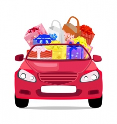 car with gifts vector image vector image