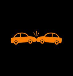 crashed cars sign orange icon on black background vector image