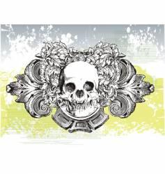 heraldic grunge skull vector image vector image