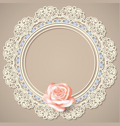 lace frame realistic rose on beige background vector image