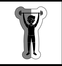 Man athlete weight lifting avatar character vector