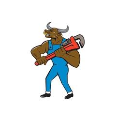 Minotaur Bull Plumber Wrench Isolated Cartoon vector image vector image