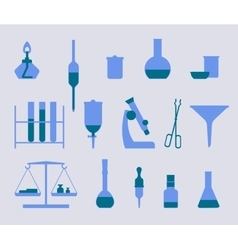 set of icons with chemistry and medicine equipment vector image