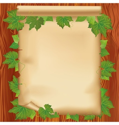 Sheet of paper on wooden board with leaf vector image vector image