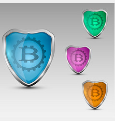 shield with bitcoinemblem vector image