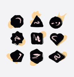 Abstract black inky hand drawn shapes icons set vector