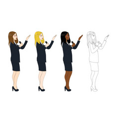 business woman with microphone presentation side vector image vector image