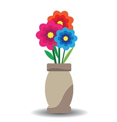 flowers and vase composition isolated on white vector image vector image