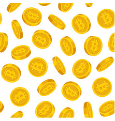 gold bitcoins seamless pattern on white background vector image vector image