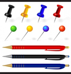pens and pins vector image vector image