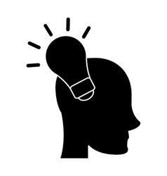 silhouette head human new idea bulb vector image