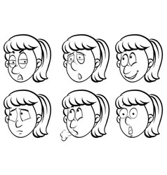 woman and six different emotions vector image