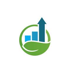 arrow business graph nature logo vector image vector image