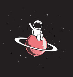 baby astronaut sits on saturn vector image vector image