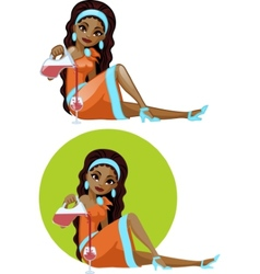 Cute young african american woman in cocktail vector