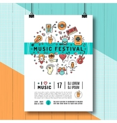 Music festival poster template A4 size line art vector image vector image