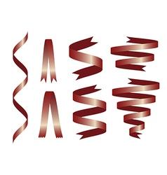 Shiny retro red ribbon on white background vector image