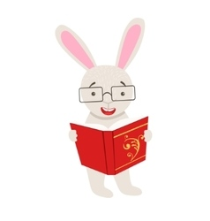 White Rabbit Smiling Bookworm Zoo Character vector image