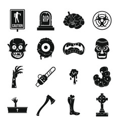 zombie icons set parts simple style vector image