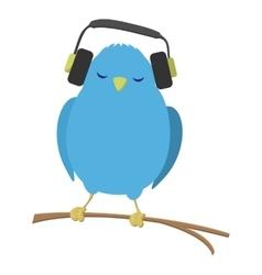 Blue bird listening to music vector image