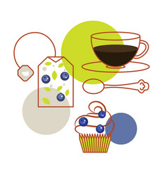 blueberry tea bag and cup of tea with cupcake vector image vector image