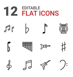 12 melody icons vector image