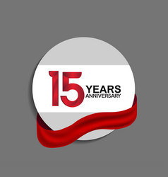 15 years anniversary design in circle red ribbon vector