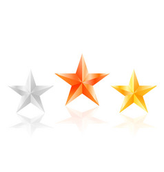 3d stars golden silver bronze star with sides vector