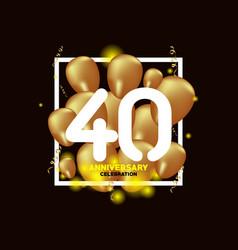 40 year anniversary white gold balloon template vector