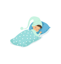 Adorable little boy sleeping on his bed wearing vector