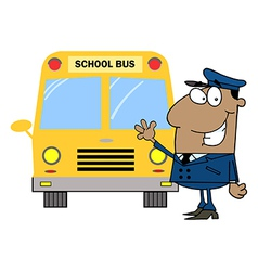 African American Driver In Front of School Bus vector image