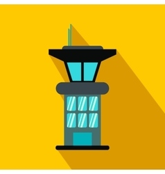 Airport control tower flat icon vector