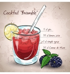 Alcoholic cocktail Bramble vector