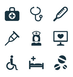 antibiotic icons set with body check drug aid vector image
