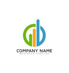 Arrow report logo icon design vector