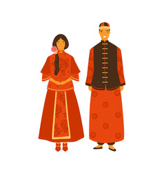 asian couple wearing traditional chinese costumes vector image