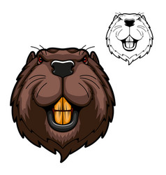 Beaver mascot rodent animal head with teeth vector