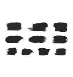 Black paintbrush strokes set isolated on white vector