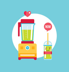 Blender and glass of fresh smoothie vector
