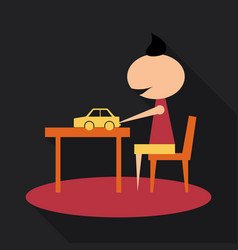 Boy with long chubby playing car on the table boy vector