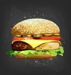 Burger blackboard vector