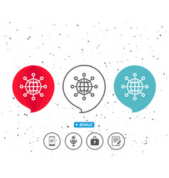 business networking line icon international work vector image
