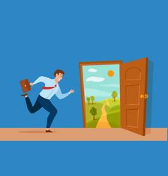 Businessman run to open door with summer nature vector