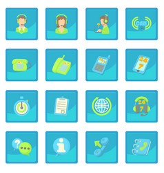 call center items icon blue app vector image vector image