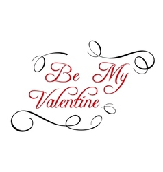 Calligraphic header Be My Valentine vector