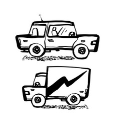 car service concept car and truck in doodle ink vector image
