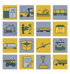 Cargo shipping delivery icon set Thin line design vector image