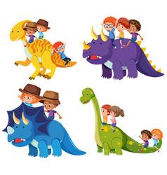 children ride dinosaur on white background vector image