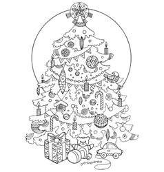 Christmas tree cartoon coloring book vector image